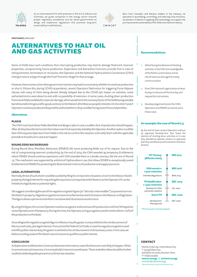 Alternatives to halt oil and gas activities